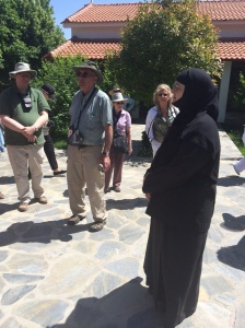 Sister Theoktisti greets us - Edmund is in the background